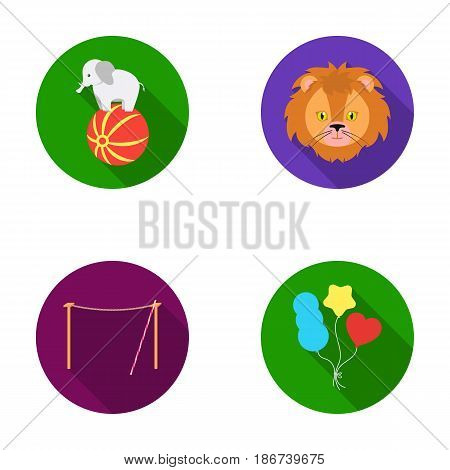 Elephant on the ball, circus lion, crossbeam, balls.Circus set collection icons in flat style vector symbol stock illustration .