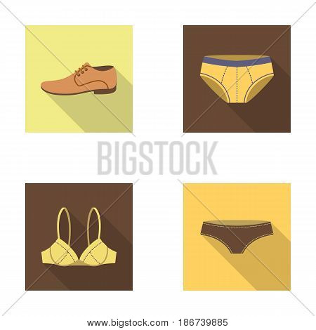 Shoes, shoe, panties, underwear and other clothes. Clothes set collection icons in flat style vector symbol stock illustration .