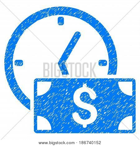 Grunge Credit icon with grunge design and unclean texture. Unclean vector blue pictogram for rubber seal stamp imitations and watermarks. Draft sticker symbol.