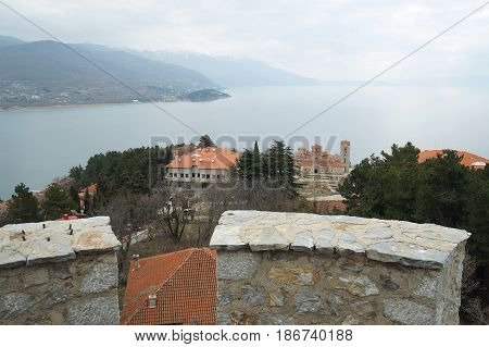 Ohrid lake seen from King Samuil fortress in Ohrid, Republic of Macedonia