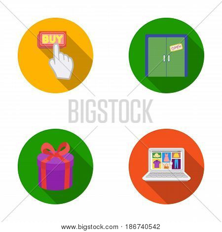 Hand, click, elevator, gift, box, door, online store and other equipment. E commerce set collection icons in flat style vector symbol stock illustration .