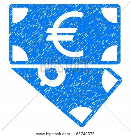 Grunge Euro And Dollar Banknotes icon with grunge design and dirty texture. Unclean vector blue pictogram for rubber seal stamp imitations and watermarks. Draft sign symbol.