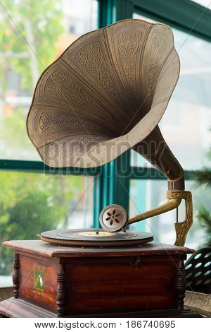 vintage old golden phonograph for music concept