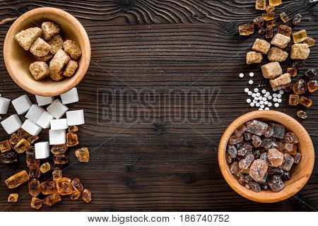 cooking sweets set with sugar in bowls on kitchen wooden table background top view mock-up