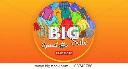 Big sale clothes horizontal concept. Cartoon illustration of big sale clothes banner horizontal vector for web