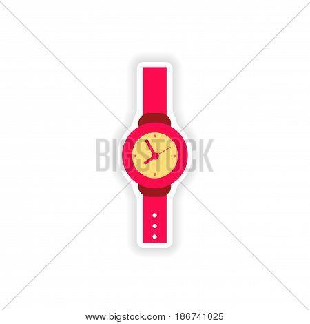 stylish paper sticker on white background watch