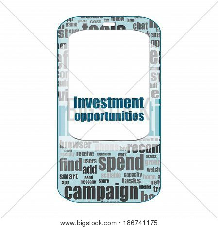 Business Concept. Words Investment Opportunities . Detailed Modern Smartphone Isolated On White