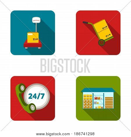Warehouse, scales with a box, trolley for transportation, twenty-four-hour communication.Logistic set collection icons in flat style vector symbol stock illustration .