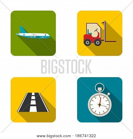 Cargo aircraft, forklift, stopwatch, road.Logistic set collection icons in flat style vector symbol stock illustration .