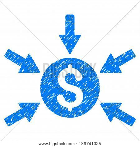 Grunge Money Income icon with grunge design and unclean texture. Unclean vector blue pictogram for rubber seal stamp imitations and watermarks. Draft sticker symbol.