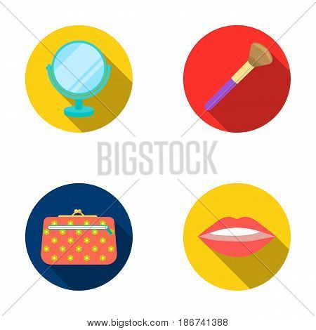 Lipstick on the lips, face brush, table mirror, cosmetic bag.Makeup set collection icons in flat style vector symbol stock illustration web.