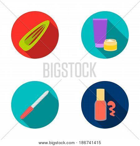 Hair clip, nail file, body cream, nail polish.Makeup set collection icons in flat style vector symbol stock illustration web.