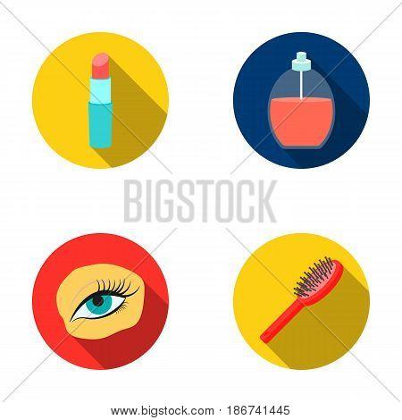 Mascara on eyelashes, lipstick, perfume, hairbrush.Makeup set collection icons in flat style vector symbol stock illustration web.