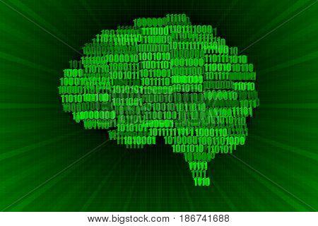 Green on Black Digital Brain Concept Illustration