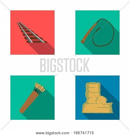 Rails, whip, quiver with arrows, rock.Wild west set collection icons in flat style vector symbol stock illustration .