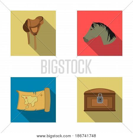 Head of a horse, a saddle, a treasure map, a chest.Wild west set collection icons in flat style vector symbol stock illustration .