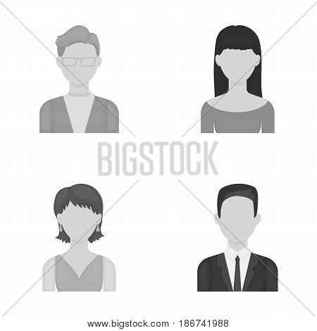 A man with glasses, a girl with a bang, a girl with earrings, a businessman.Avatar set collection icons in monochrome style vector symbol stock illustration .