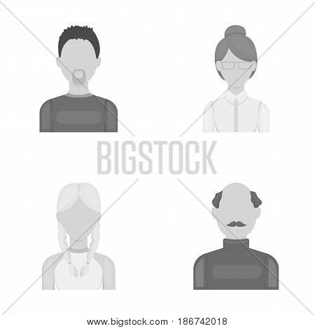 A man with a beard, a businesswoman, a pigtail girl, a bald man with a mustache.Avatar set collection icons in monochrome style vector symbol stock illustration .