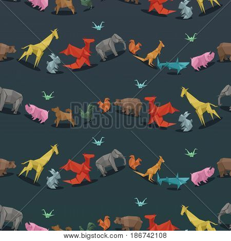 Origami wild paper animals creative decoration vector illustration seamless pattern. Geometric nature traditional japan polygon asian toy. Paper animals