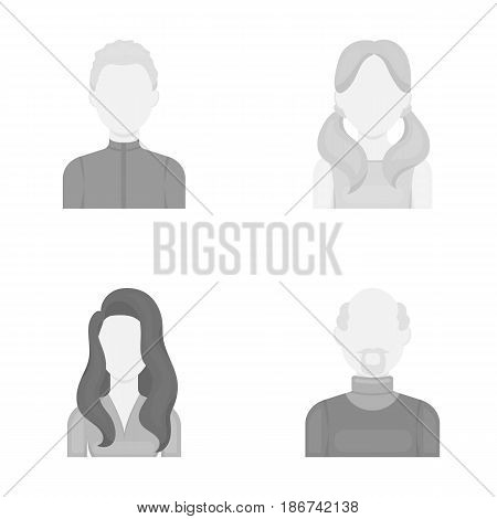 Boy blond, bald man, girl with tails, woman.Avatar set collection icons in monochrome style vector symbol stock illustration .