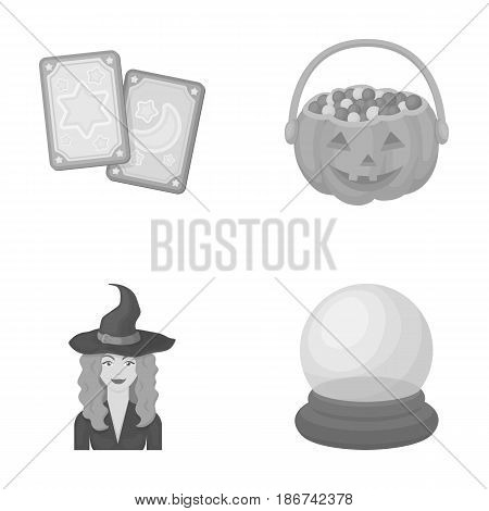 Tarot cards, holiday halloween, magician in a hat, crystal ball.Black and white magic set collection icons in monochrome style vector symbol stock illustration .