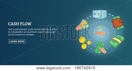 Cash flow horizontal concept. Cartoon illustration of cash flow banner horizontal vector for web
