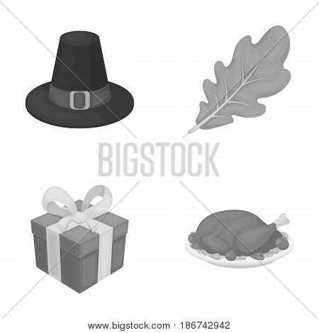 Hat of a pilgrim, oak leaf, gift in a box, fried turkey.Canada thanksgiving day set collection icons in monochrome style vector symbol stock illustration .