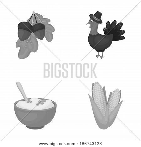 Acorns, corn.arthene puree, festive turkey, Canada thanksgiving day set collection icons in monochrome style vector symbol stock illustration .