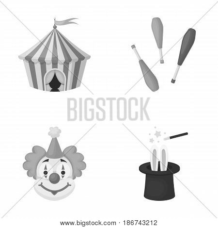 Circus tent, juggler maces, clown, magician's hat.Circus set collection icons in monochrome style vector symbol stock illustration .