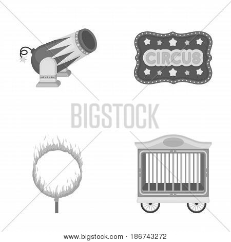 Circus trailer, circus gun, burning hoop, signboard.Circus set collection icons in monochrome style vector symbol stock illustration .