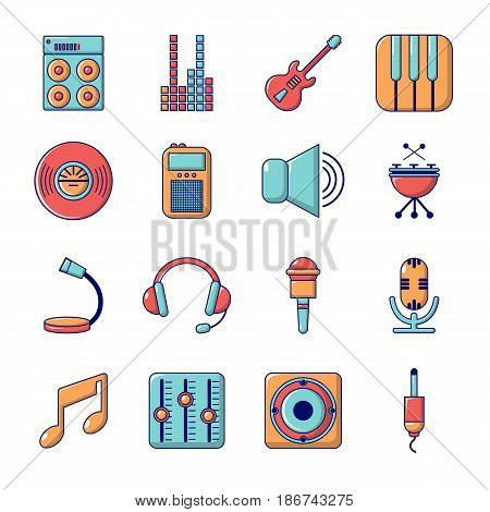 Recording studio symbols icons set. Cartoon illustration of 16 recording studio symbols vector icons for web