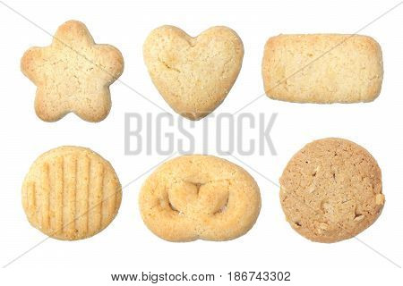 Butter cookies in different shapes isolated on white