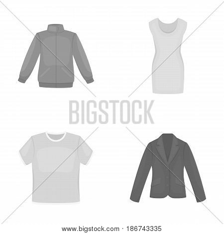 A mans jacket, a tunic, a T-shirt, a business suit. Clothes set collection icons in monochrome style vector symbol stock illustration .