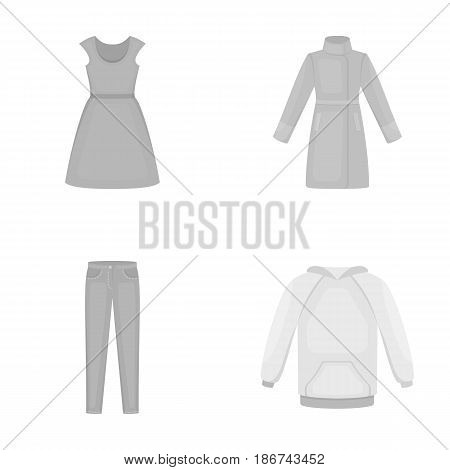 Dress with short sleeves, trousers, coats, raglan.Clothing set collection icons in monochrome style vector symbol stock illustration .