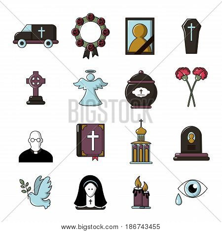 Funeral ritual service icons set. Cartoon illustration of 16 funeral ritual service vector icons for web