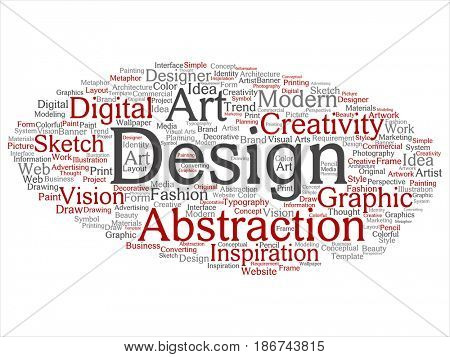 Concept conceptual creativity art graphic identity design visual word cloud isolated background. Collage of advertising, decorative, fashion, inspiration, vision, perspective or modeling text