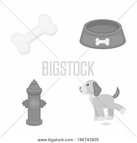 A bone, a fire hydrant, a bowl of food, a pissing dog.Dog set collection icons in monochrome style vector symbol stock illustration .