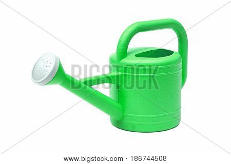 Plastic watering can isolated on white background