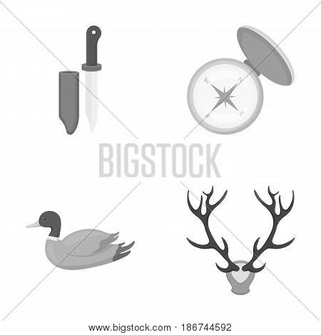 Knife with a cover, a duck, a deer horn, a compass with a lid..Hunting set collection icons in monochrome style vector symbol stock illustration .