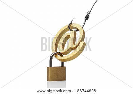 A fish hook with email sign / Online fraud / Email phishing attack concept
