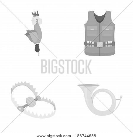 A trophy in his hand, a steel trap, a hunting vest with patronage, a horn..Hunting set collection icons in monochrome style vector symbol stock illustration .