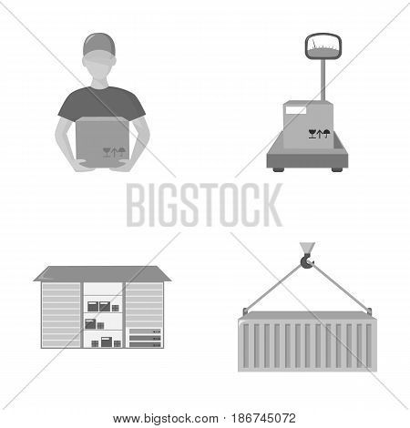 Courier, scales, container, warehouse.Logistic, set collection icons in monochrome style vector symbol stock illustration .