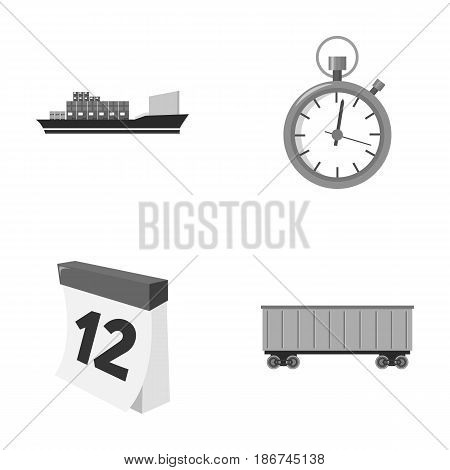 Cargo ship, stop watch, calendar, railway car.Logistic, set collection icons in monochrome style vector symbol stock illustration .