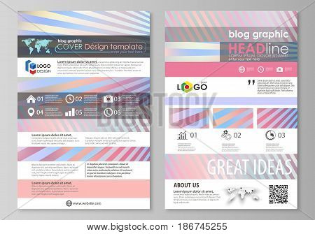 Blog graphic business templates. Page website design template, easy editable abstract vector layout. Sweet pink and blue decoration, pretty romantic design, cute candy background.