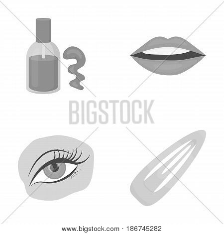 Nail polish, tinted eyelashes, lips with lipstick, hair clip.Makeup set collection icons in monochrome style vector symbol stock illustration .