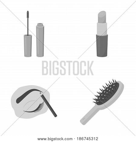 Mascara, hairbrush, lipstick, eyebrow pencil, Makeup set collection icons in monochrome style vector symbol stock illustration .
