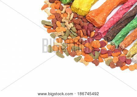 Different types of dog food isolated on white