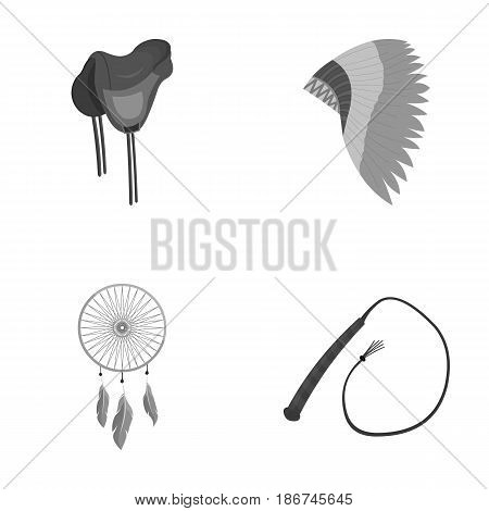 Saddle, Indian mohawk, whip, dream catcher.Wild west set collection icons in monochrome style vector symbol stock illustration .
