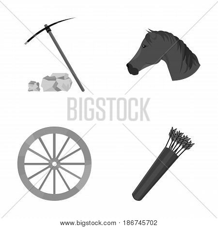 Pickax hoe, horse head, wheel cart, quiver with arrows.Wild west set collection icons in monochrome style vector symbol stock illustration .
