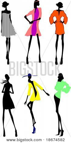 Six Fashion Girls Silhouette. More In My Portfolio.